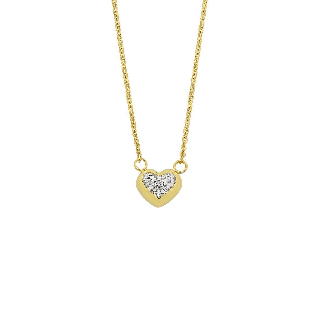 9ct Yellow Gold Silver Infused Crystal Puff Necklace