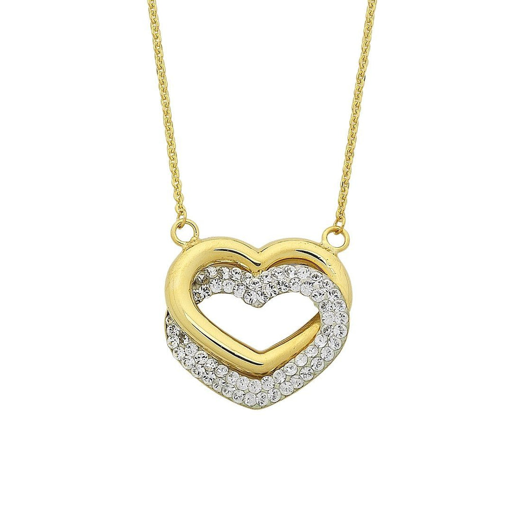 9ct Yellow Gold Silver Infused Interlocked Hearts Necklace