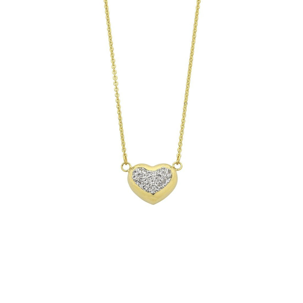 9ct Yellow Gold Silver Infused Crystal Centred Heart Necklace
