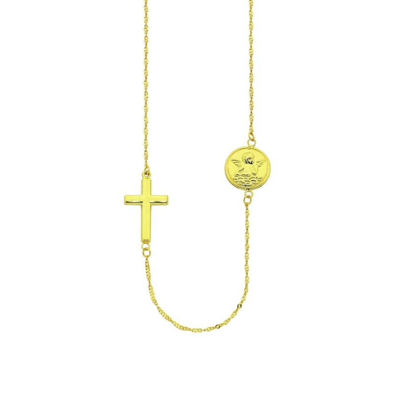 9ct Yellow Gold Silver Infused Cross & Angel Pendant Necklace