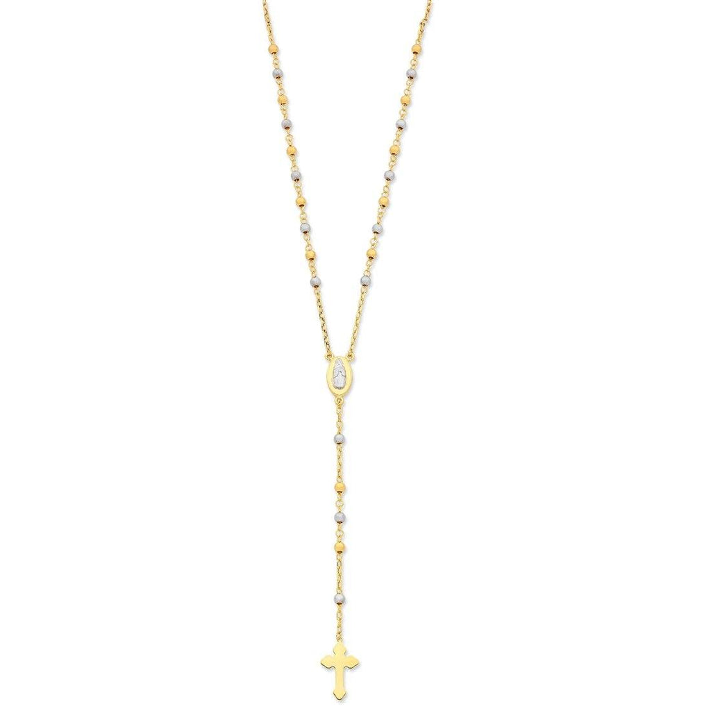 9ct Two Tone Gold Silver Infused Rosary Bead Necklace Necklaces Bevilles