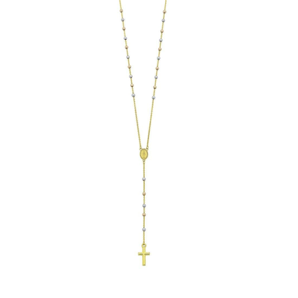 9ct Yellow Gold Silver Infused 3 Tone Rosary Necklace