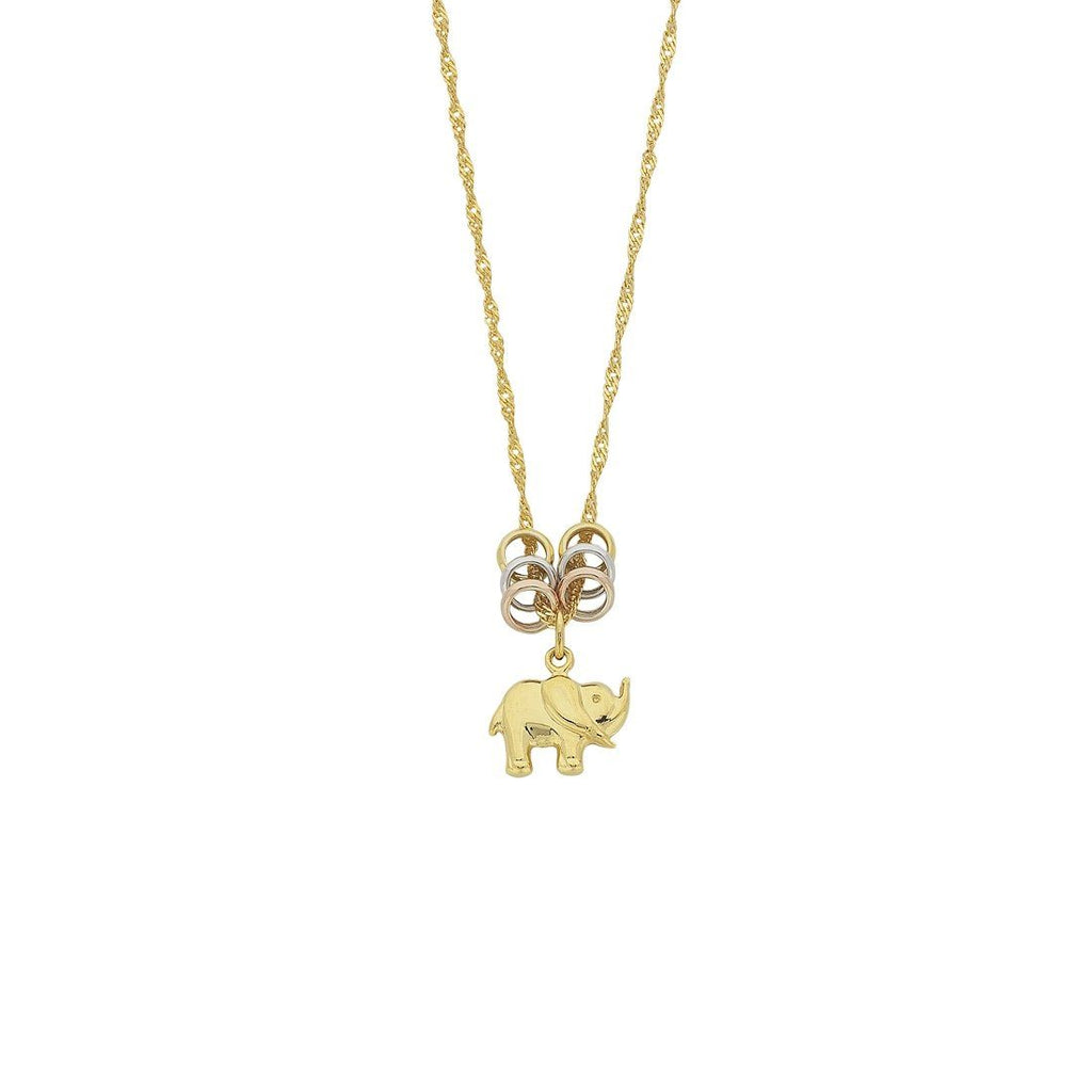 9ct Yellow Gold Silver Infused Elephant and Lucky Rings Necklace