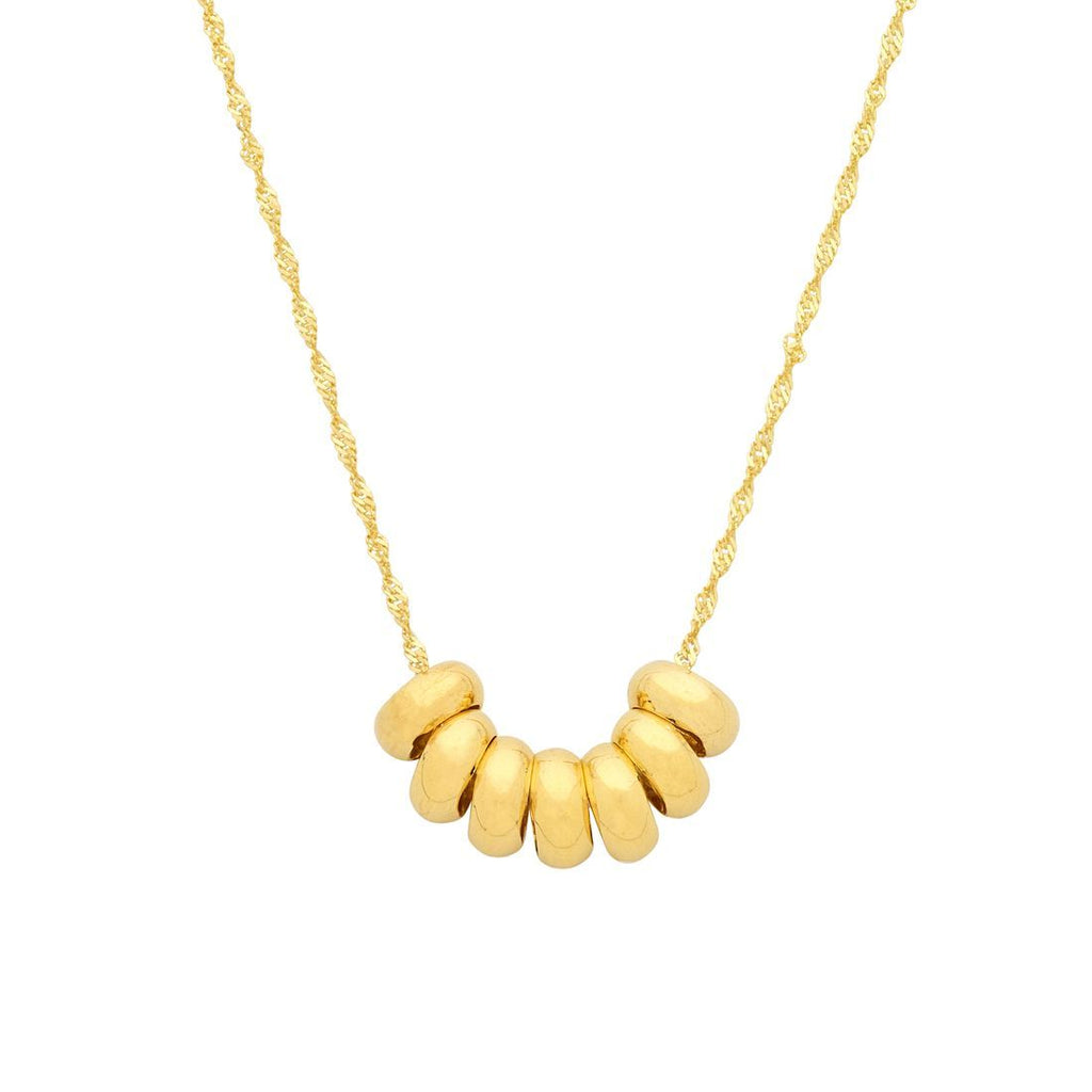 9ct Yellow Gold Silver Infused 7 Lucky Rings Necklace