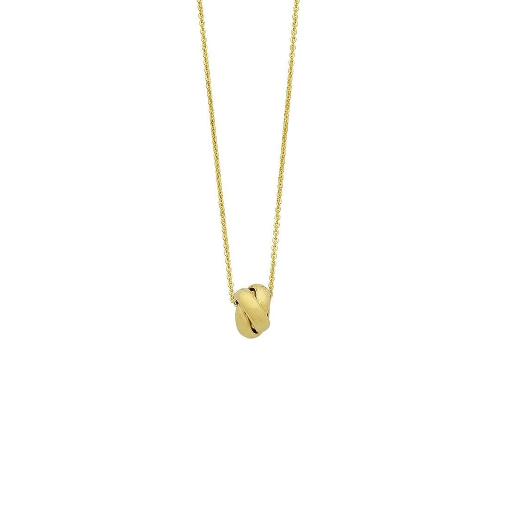 9ct Yellow Gold Silver Infused Love Knot Pendant Necklace