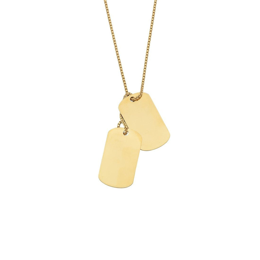 9ct Yellow Gold Silver Infused Double Dog Tag Necklace