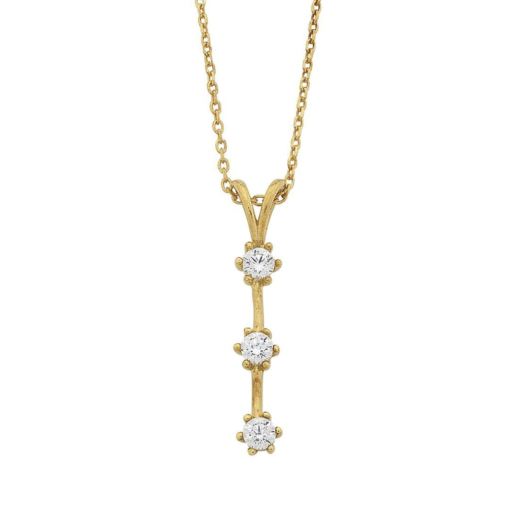 9ct Yellow Gold Silver Infused Triple Cubic Zirconia Drop Bar Necklace Necklaces Bevilles