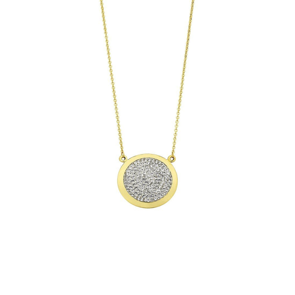 9ct Yellow Gold Silver Infused Round Crystal Pendant Necklace