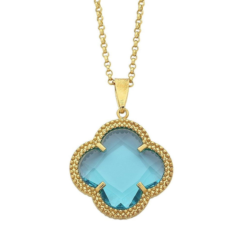 9ct Yellow Gold 4 Leaf Clover Blue Centre Stone Necklace