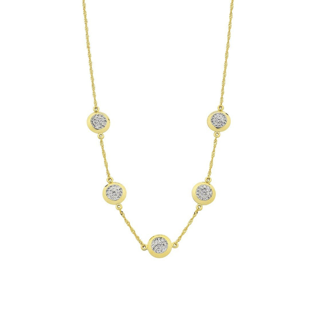 9ct Yellow Gold Silver Infused Crystal Pave Circles Necklace Necklaces Bevilles