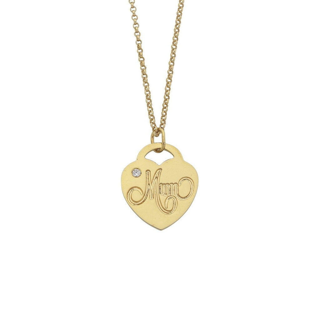 9ct Yellow Gold Silver Infused Mum Heart Pendant