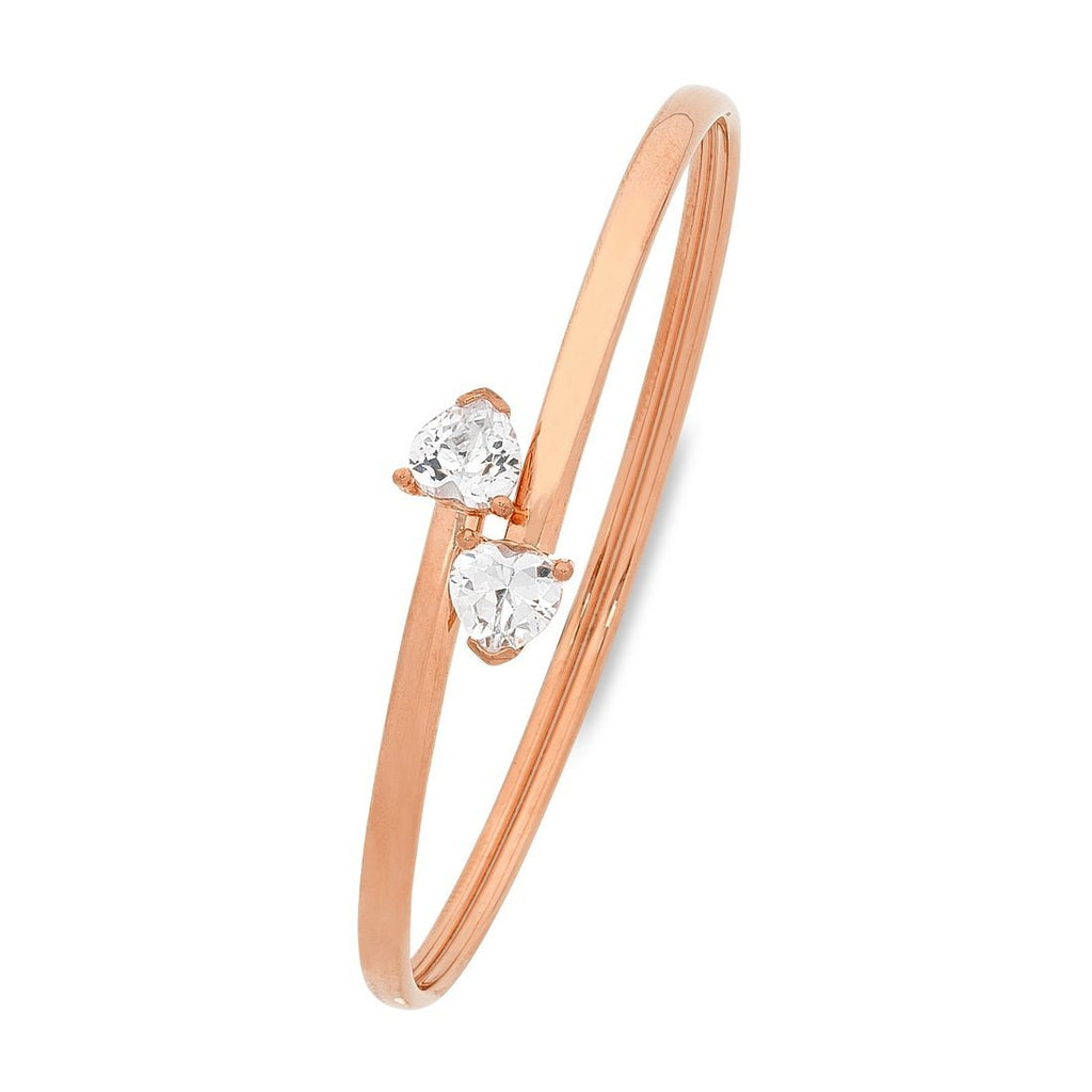 9ct Rose Gold Silver Infused Bangle with Heart Ends