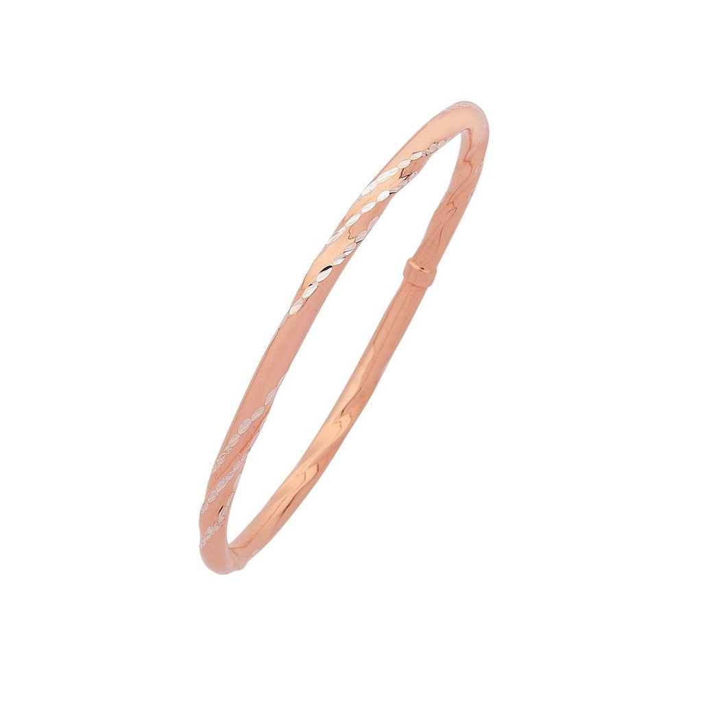 9ct Rose Gold Silver Infused Diamond Cut Twist Bangle Bracelets Bevilles