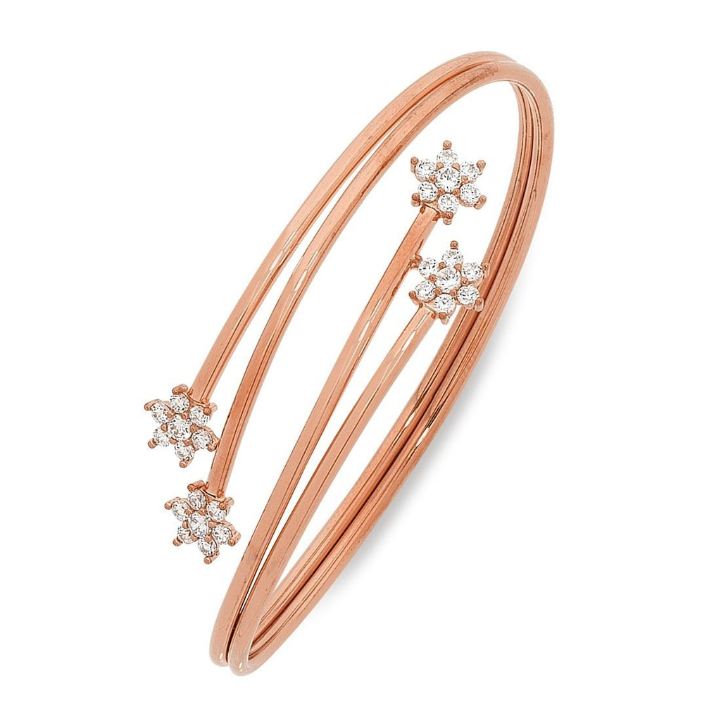 9ct Rose Gold Silver Infused Bangle with Flower Ends
