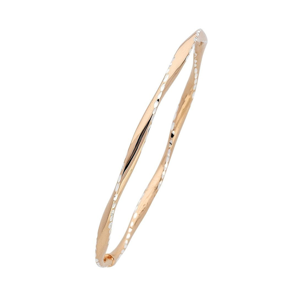 9ct Rose Gold Silver Infused Two Tone Twist Bangle Bracelets Bevilles