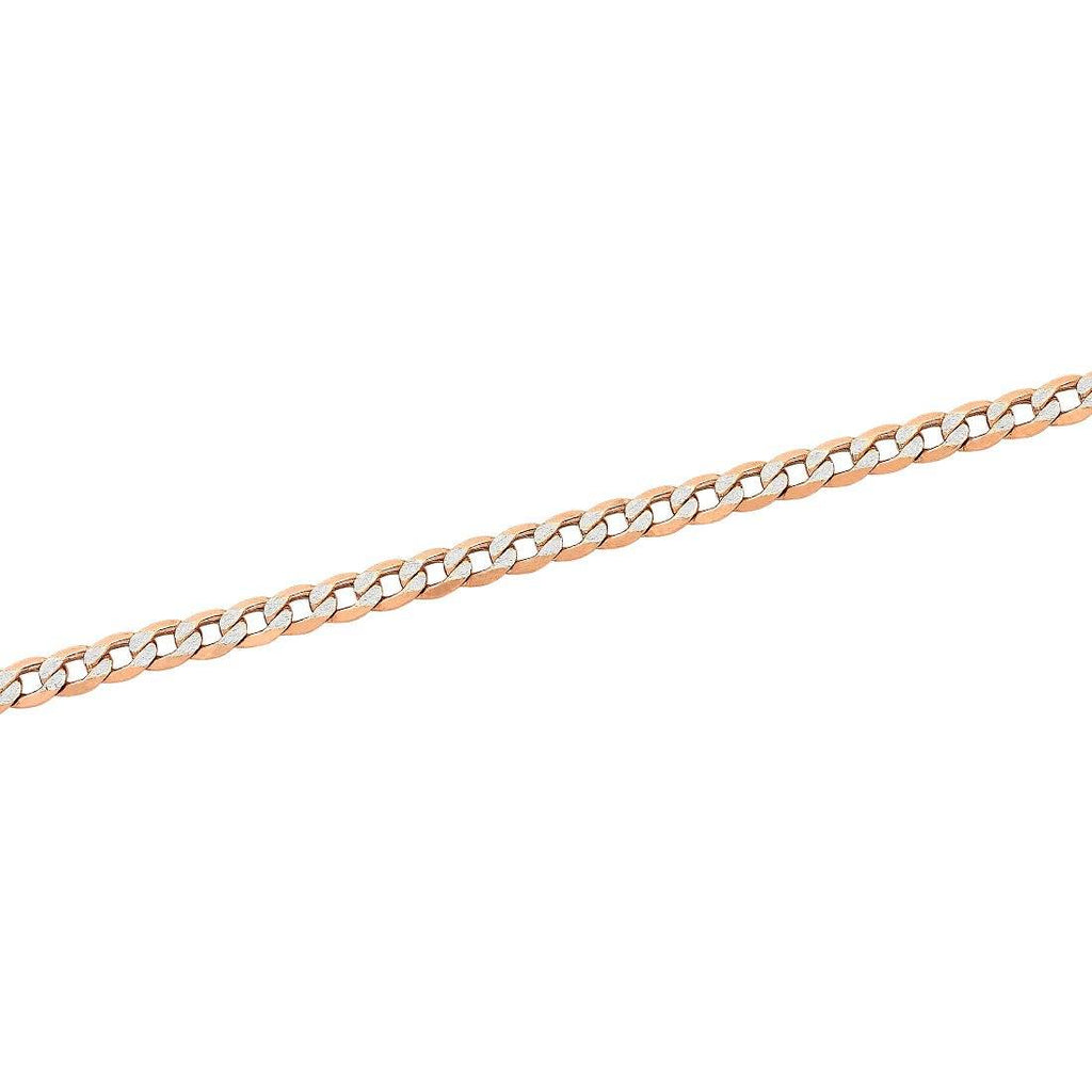 9ct Rose Gold Silver Infused Two Tone Curb Bracelet Bracelets Bevilles