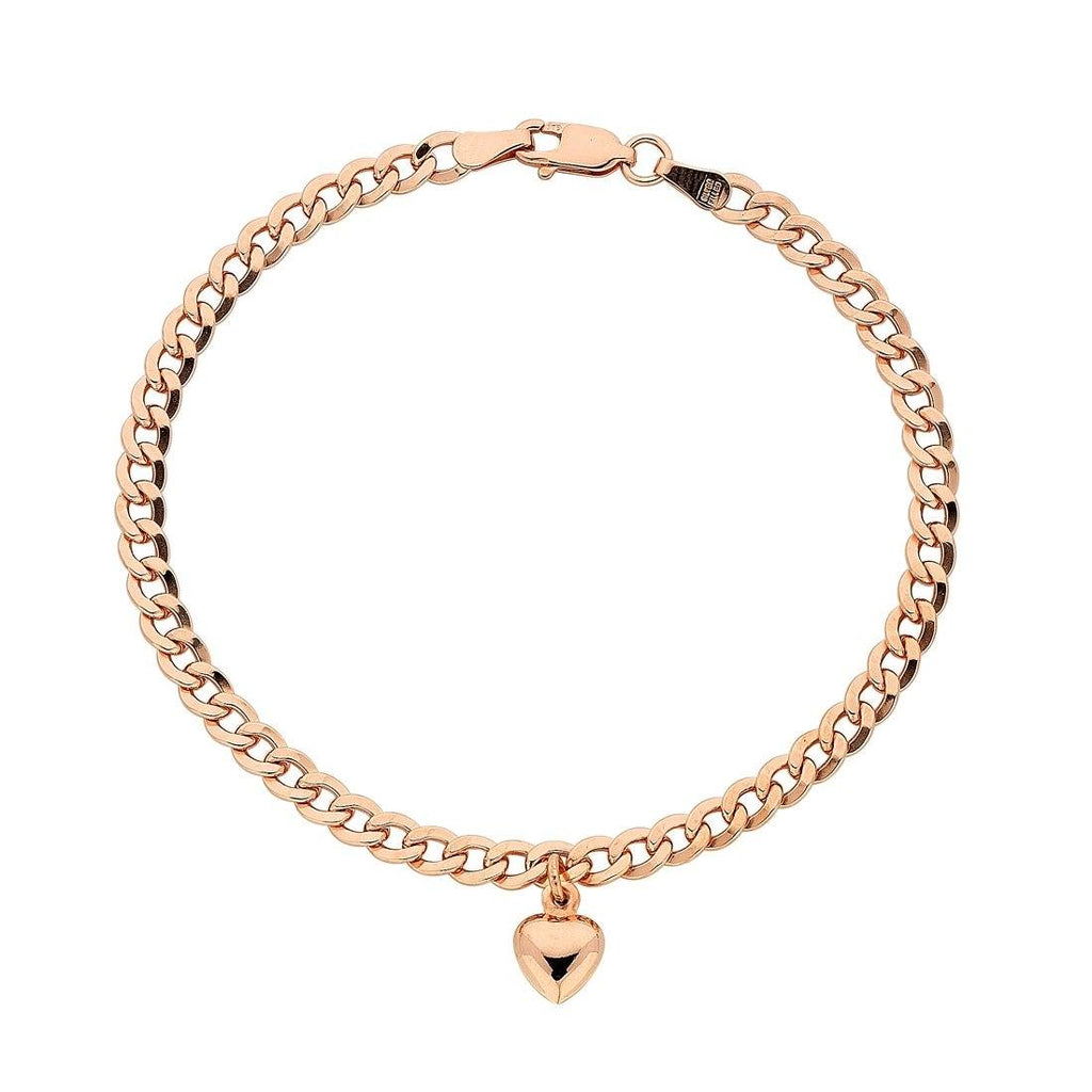 9ct Rose Gold Silver Infused Curb Bracelet with Heart Charm Bracelets Bevilles
