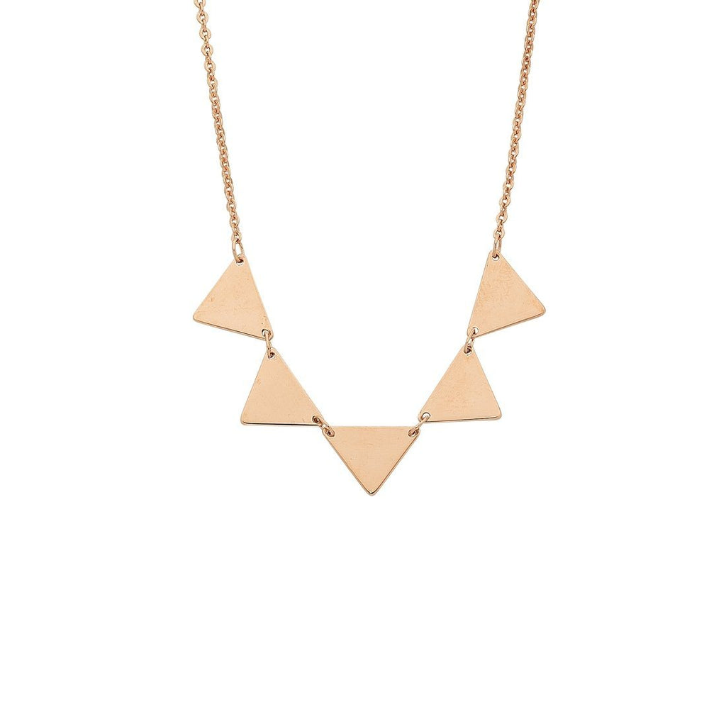 9ct Rose Gold Silver Infused 5 Triangle Necklace