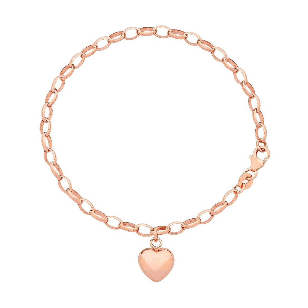 9ct Rose Gold Silver Infused Heart Charm Bracelet