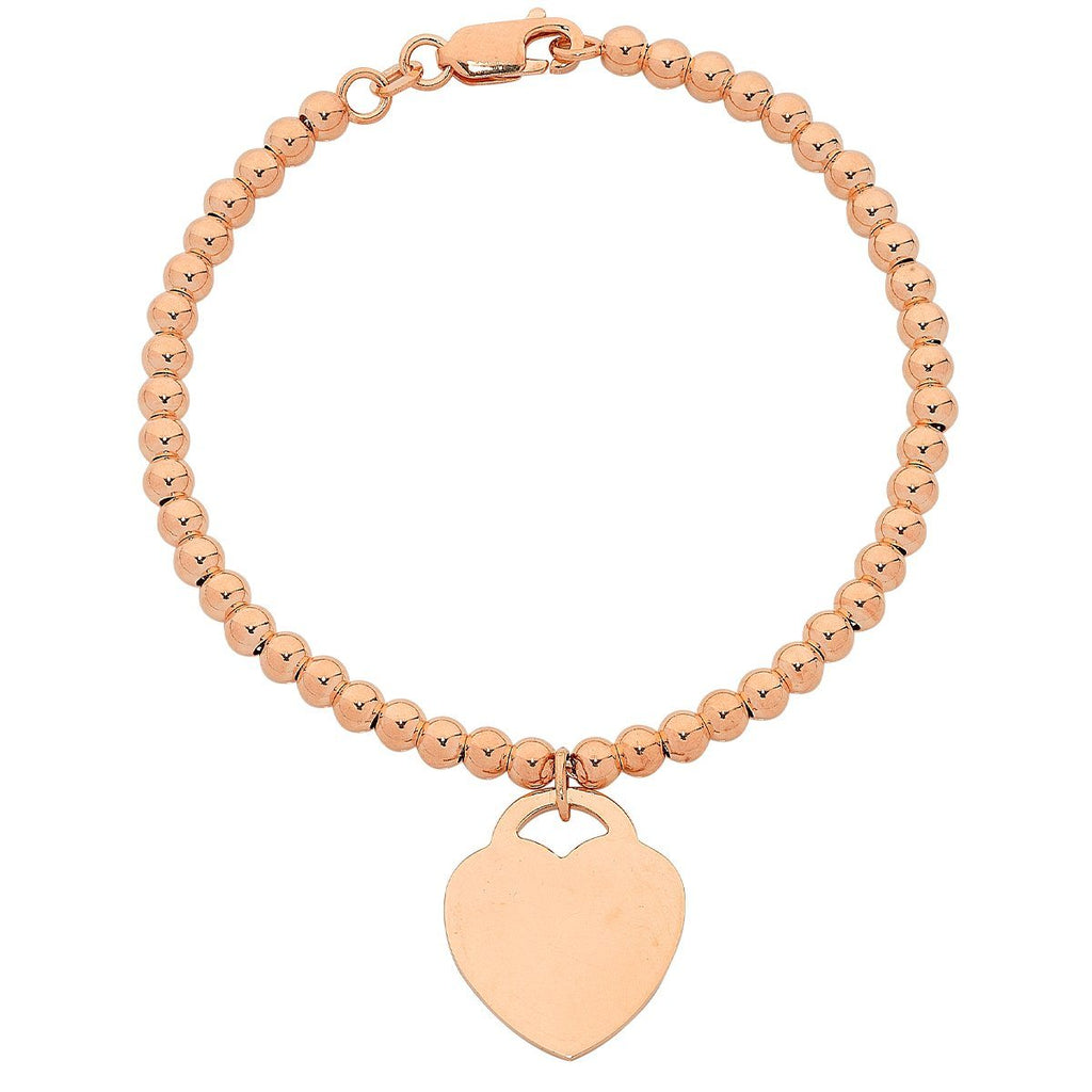 9ct Rose Gold Silver Infused Bracelet with Heart Charm Bracelets Bevilles