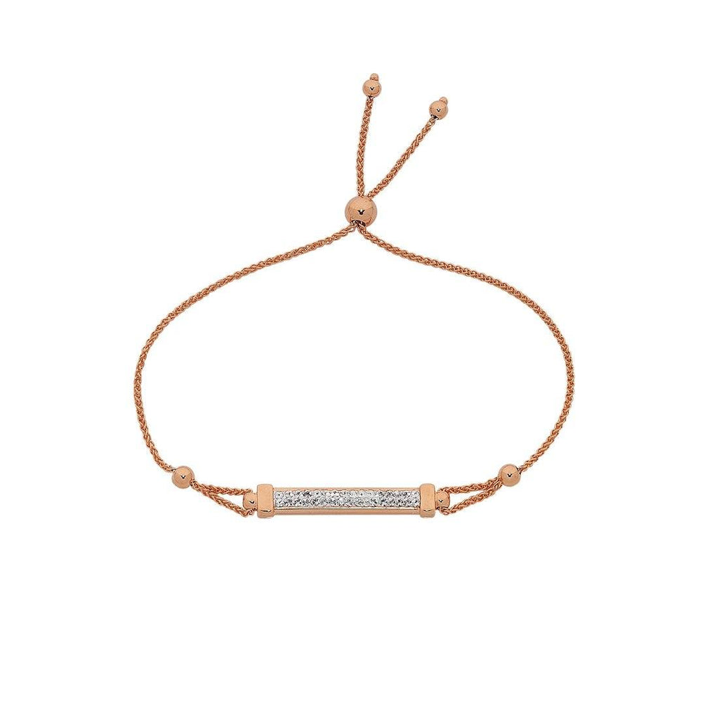 9ct Rose Gold Silver Infused Crystal Bar Adjustable Bracelet Bracelets Bevilles