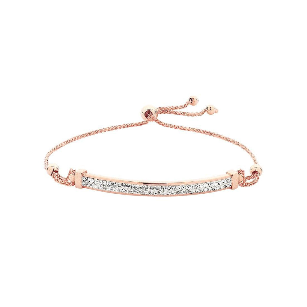 9ct Rose Gold Silver Infused Crystal ID Bracelet Bracelets Bevilles