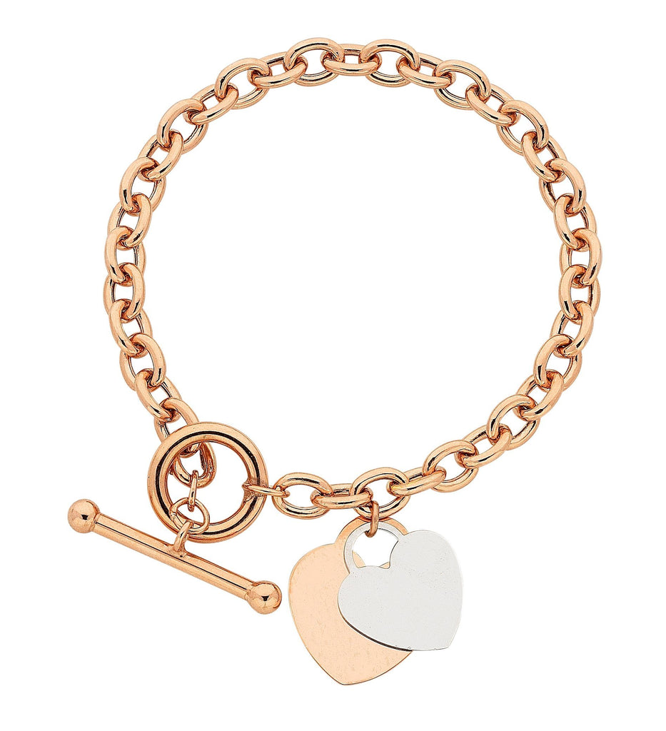 9ct Rose Gold Silver Infused Belcher Two Tone Heart Bracelet