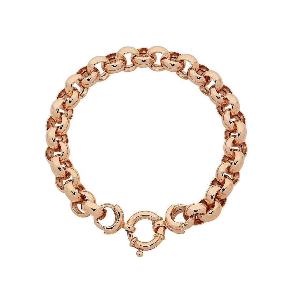 9ct Rose Gold Silver Infused Belcher Bracelet