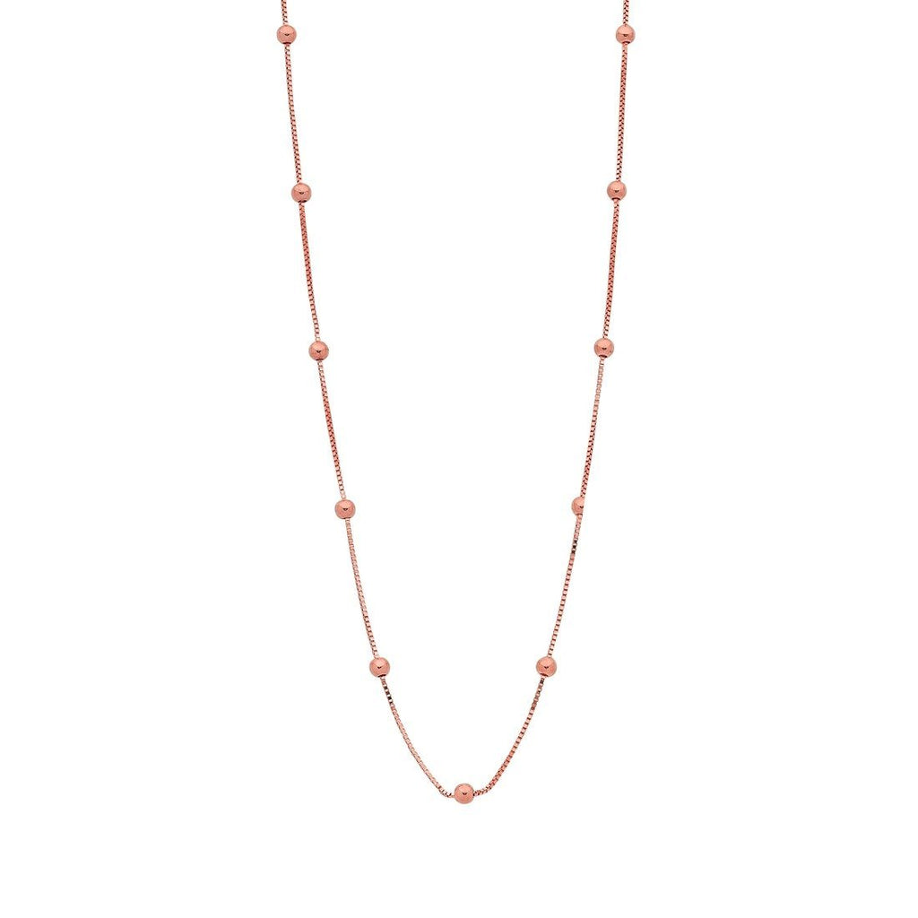 9ct Rose Gold Silver Infused Chain And Ball Necklace 45cm Necklaces Bevilles