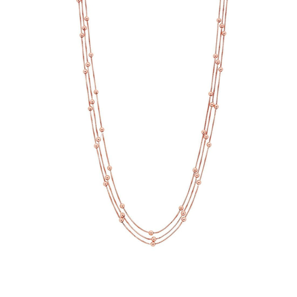 9ct Rose Gold Silver Infused Triple Row Beaded Ball Necklace