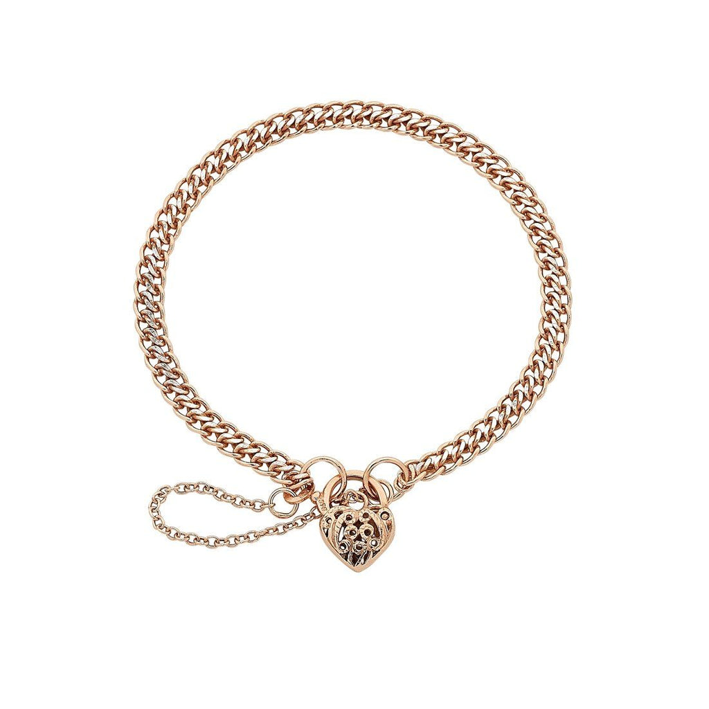 9ct Rose Gold Silver Infused Filigree Heart Bracelet Bracelets Bevilles