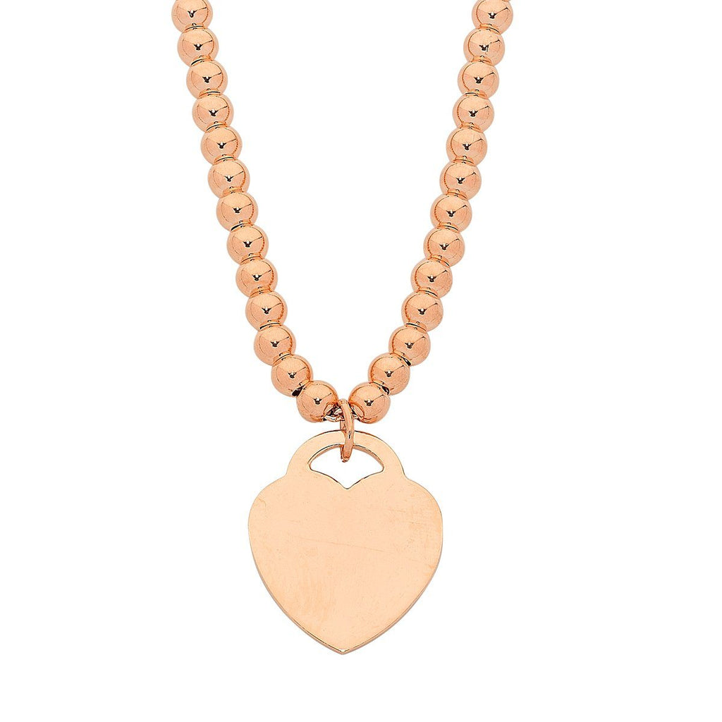 9ct Rose Gold Beaded Heart Charm Necklace