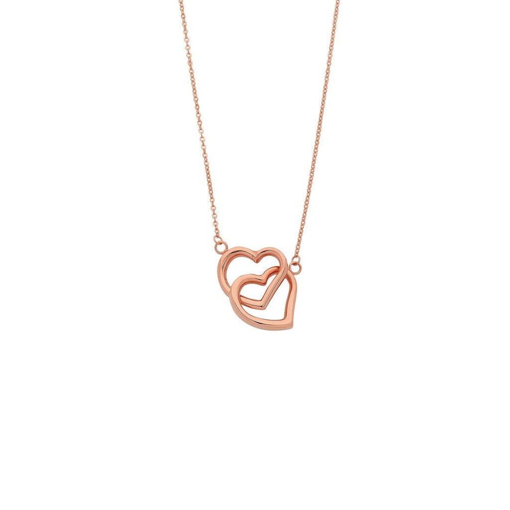 9ct Rose Gold Silver Infused Twin Hearts Necklace Necklaces Bevilles