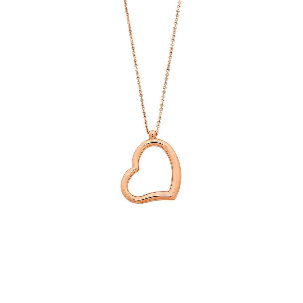 9ct Rose Gold Silver Infused Floating Heart Necklace