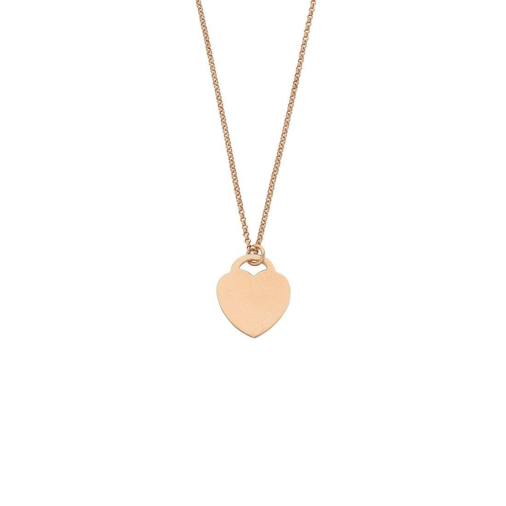 9ct Rose Gold Silver Infused Flat Heart Necklace