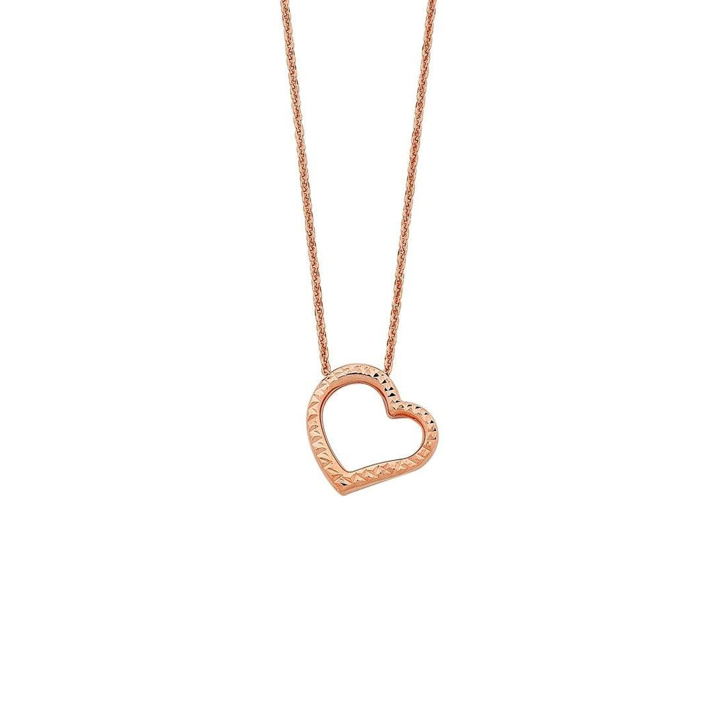 9ct Rose Gold Silver Infused Open Floating Heart Necklace Necklaces Bevilles