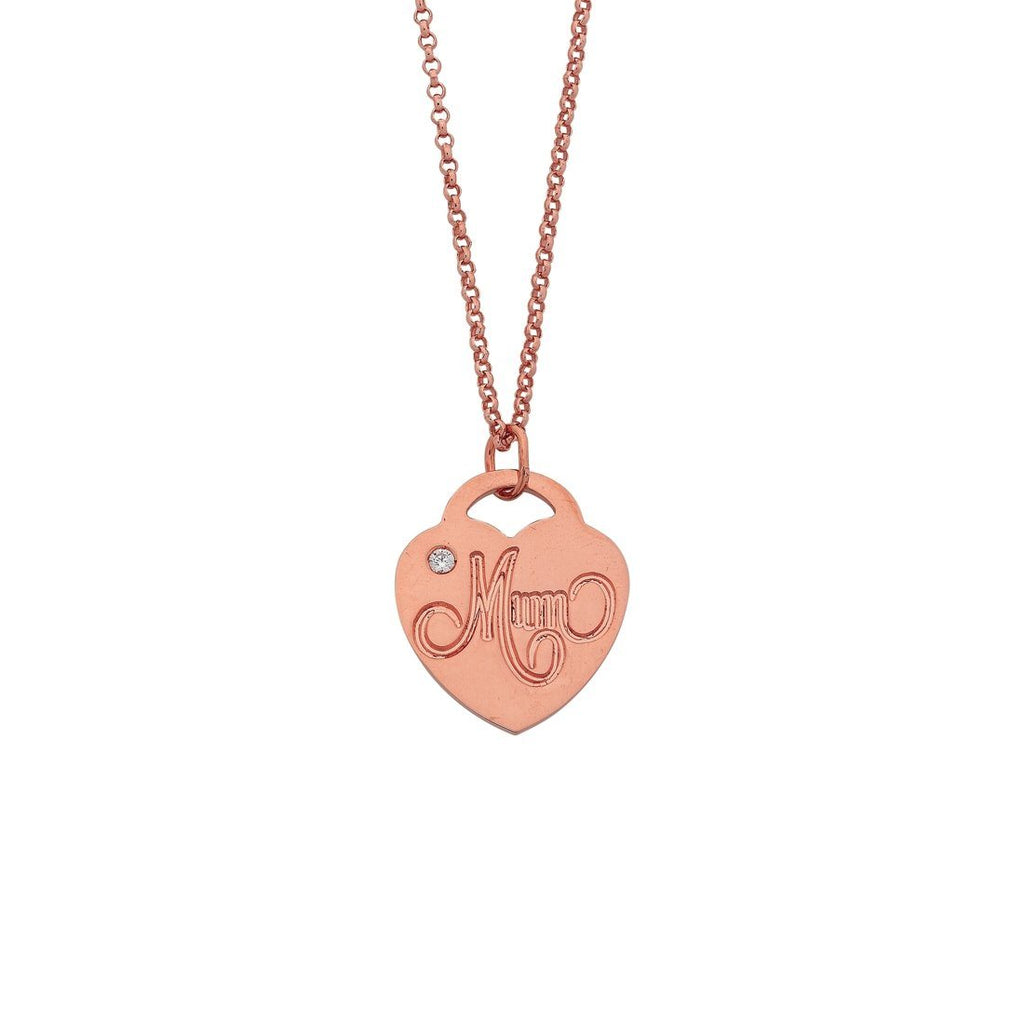 9ct Rose Gold Silver Infused Mum Heart Pendant