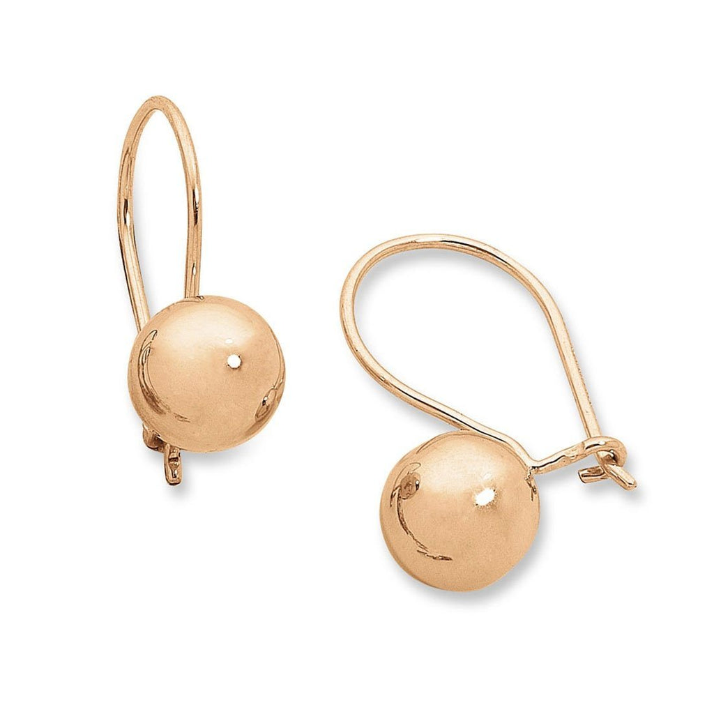 9ct Rose Gold Silver Infused Euro Ball Earrings 8mm