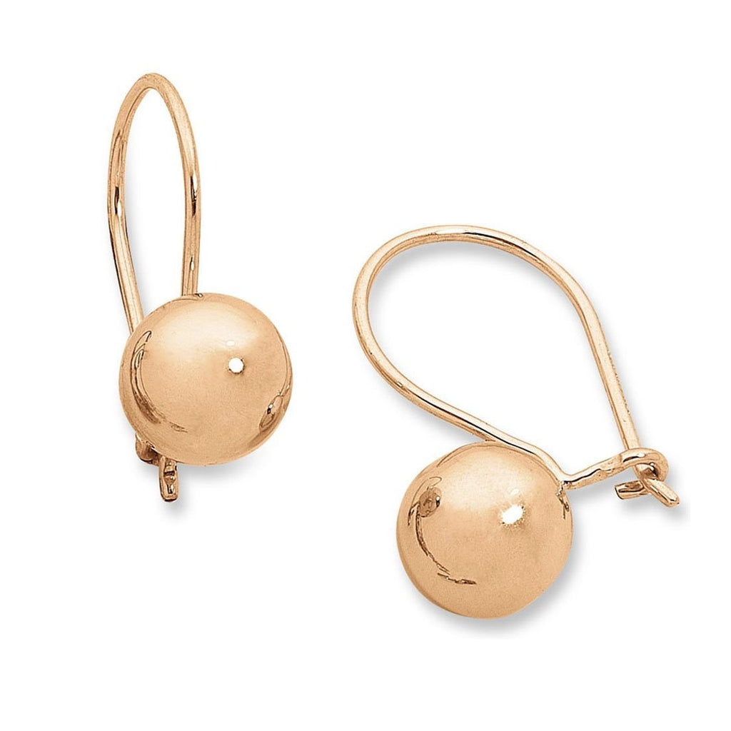 9ct Rose Gold Silver Infused Euro Ball Earrings 9.5mm