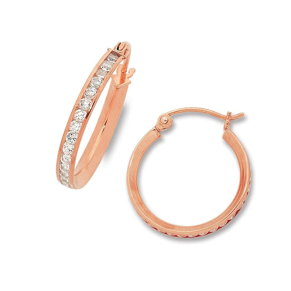 9ct Rose Gold Silver Infused Cubic Zirconia Hoop Earrings 15mm