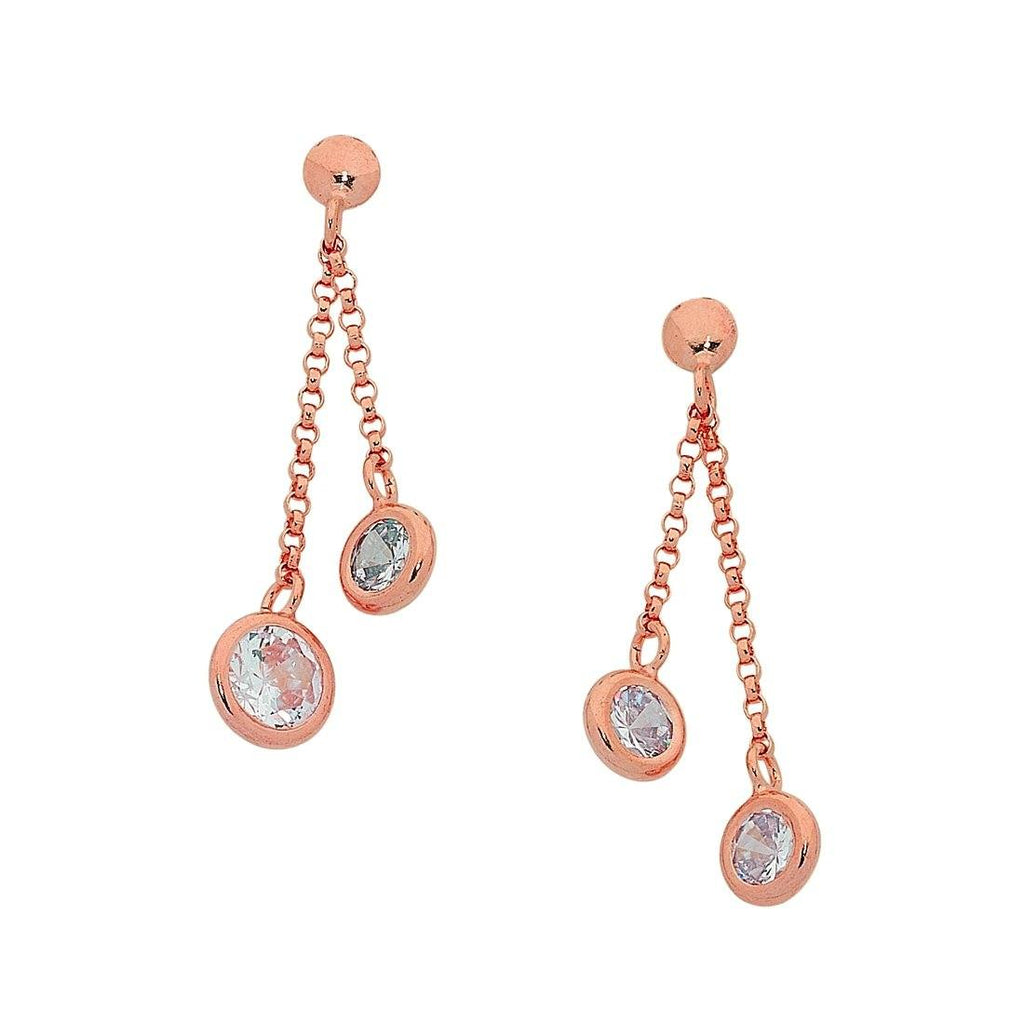 9ct Rose Gold Silver Infused Double Strand Cubic Zirconia Earrings