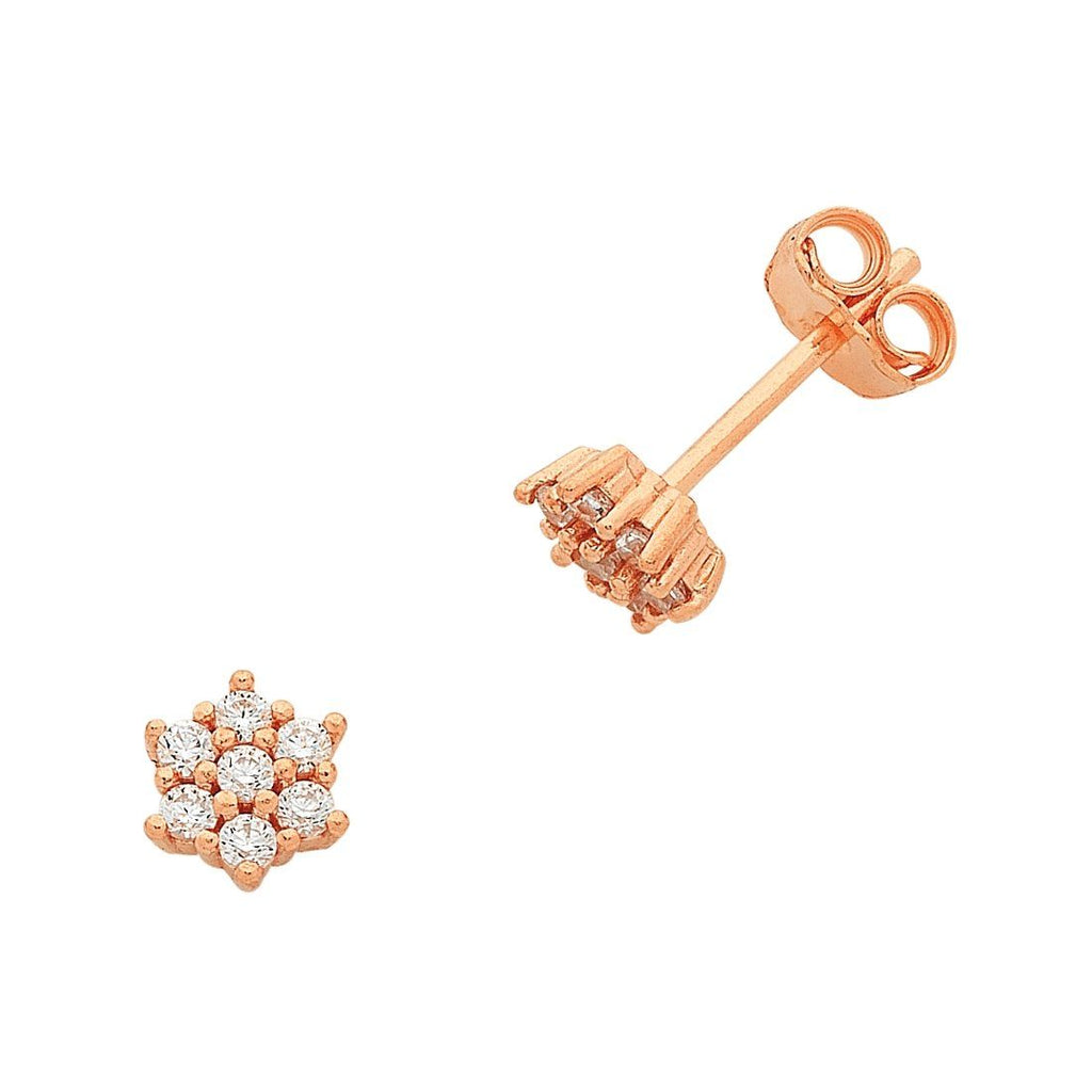 9ct Rose Gold Silver Infused Cubic Zirconia Flower Stud Earrings