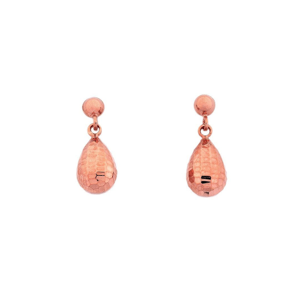 9ct Rose Gold Silver Infused Pear Earrings