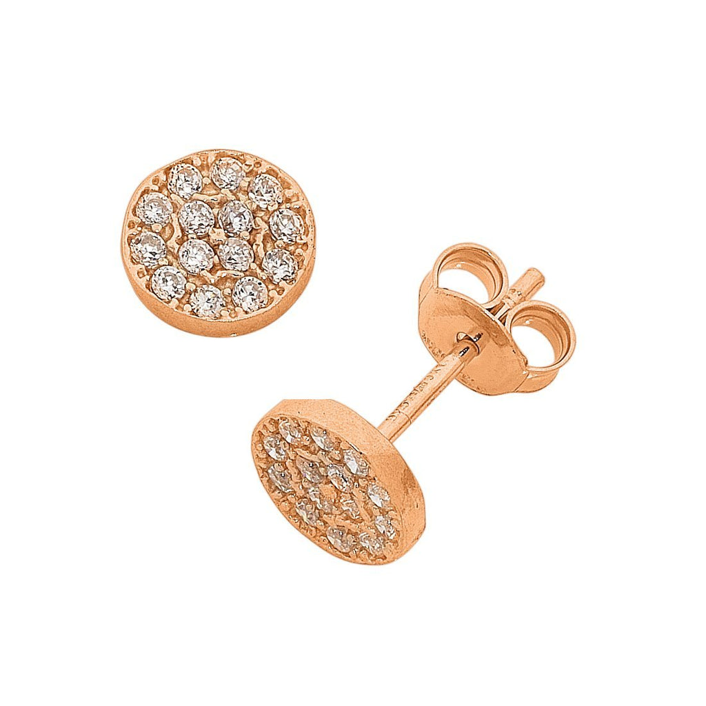 9ct Rose Gold Infused Cubic Zirconia Round Stud Earrings