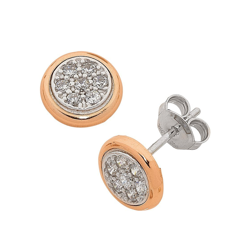 9ct Rose Gold Silver Infused Cubic Zirconia Bezel Edge Earrings Earrings Bevilles