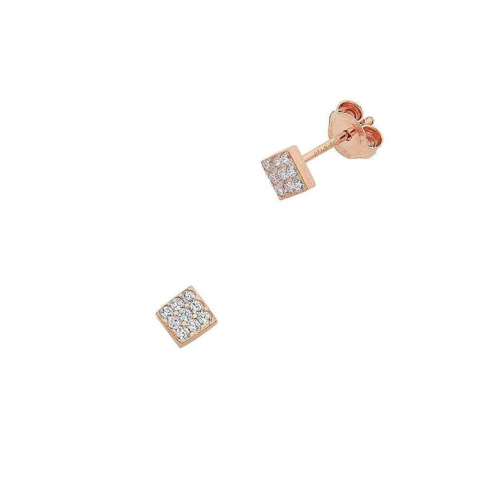 9ct Rose Gold Silver Infused Cubic Zirconia Square Stud Earrings