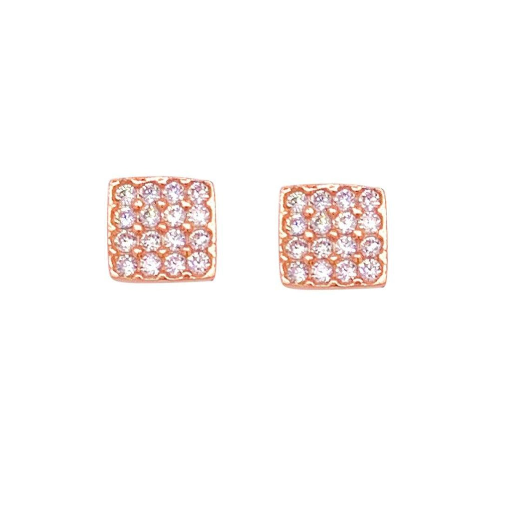 9ct Rose Gold Silver Infused Pave Cubic Zirconia Sqaure Stud Earrings