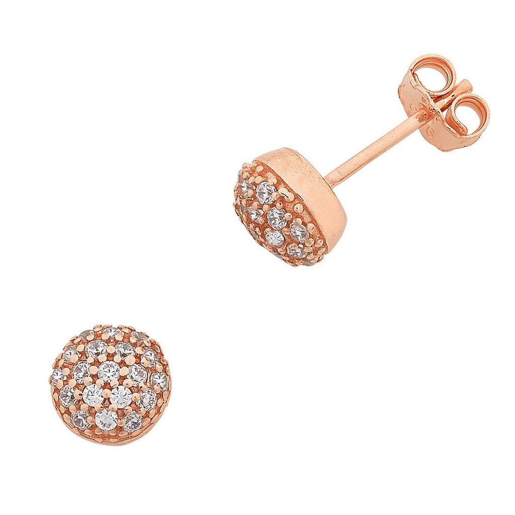 9ct Rose Gold Silver Infused Cubic Zirconia Round Stud Earrings