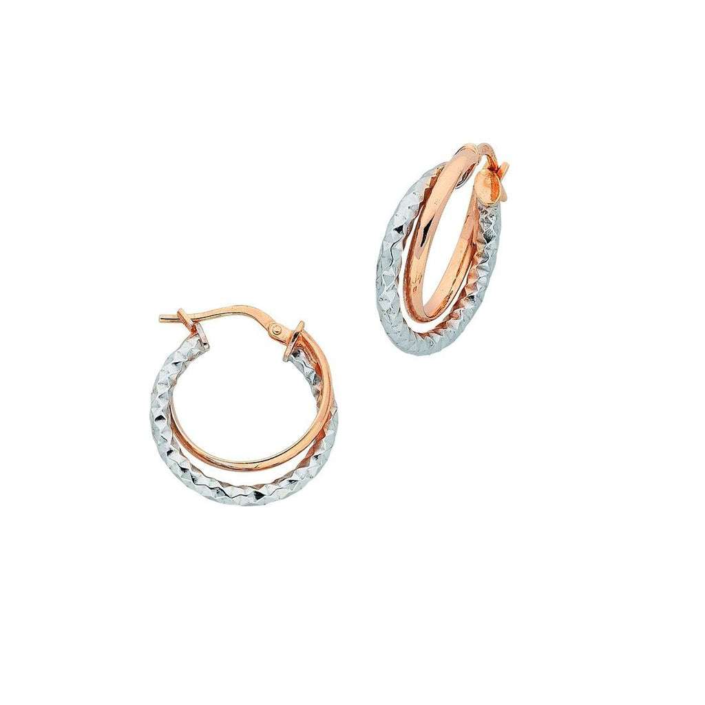 9ct 2 Tone Rose And White Gold Silver Infused Hoop Earrings 30mm Earrings Bevilles