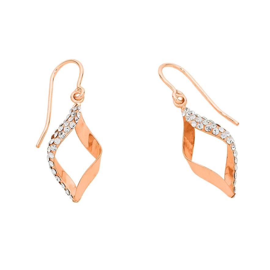 9ct Rose Gold Silver Infused Crystal Twist Earrings Earrings Bevilles